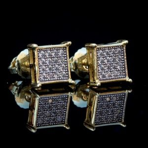 Men's Square Iced Small Gold Plated Stud Earrings